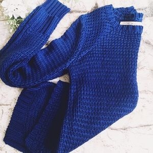 RACHEL ROY Royal Blue Open Knit Cotton Sweater XS